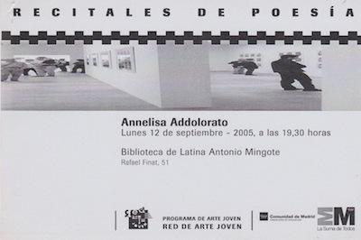 Reading poetico alla Biblioteca Antonio Mingote - invito